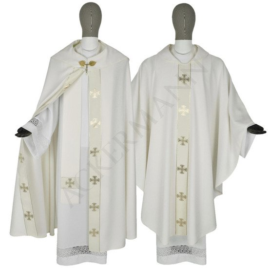 Cream Set of Gothic Cope and chasuble Maltese Crosses model 104