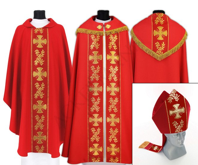 Red Set of Gothic Cope, chasuble and mitre model 006